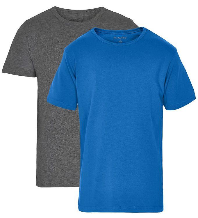 Image of Minymo T-shirt - 2-Pak - Blå/Grå (ØE565)