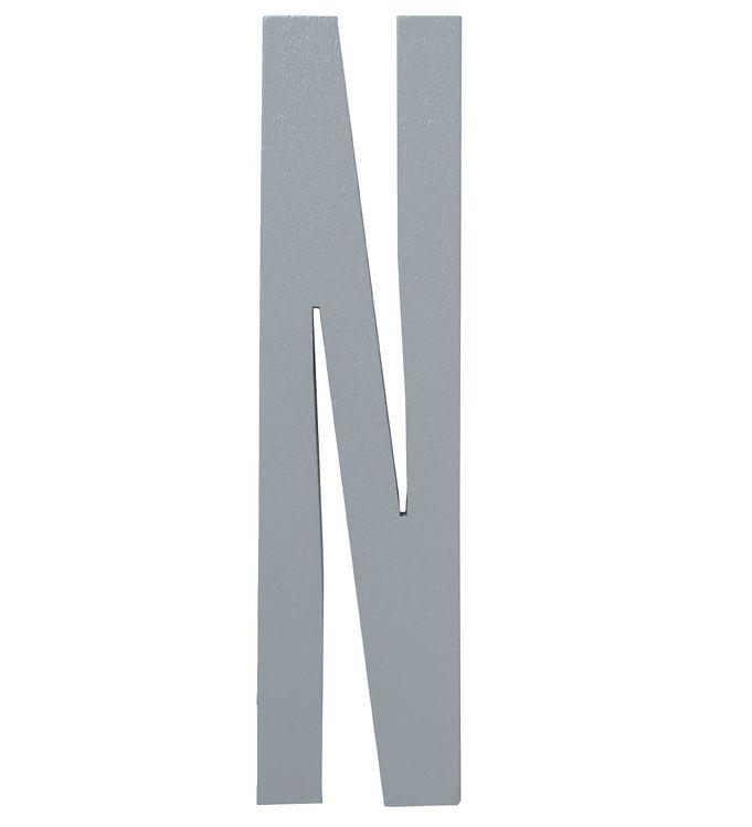 Image of   Design Letters Træbogstaver - N - Grå