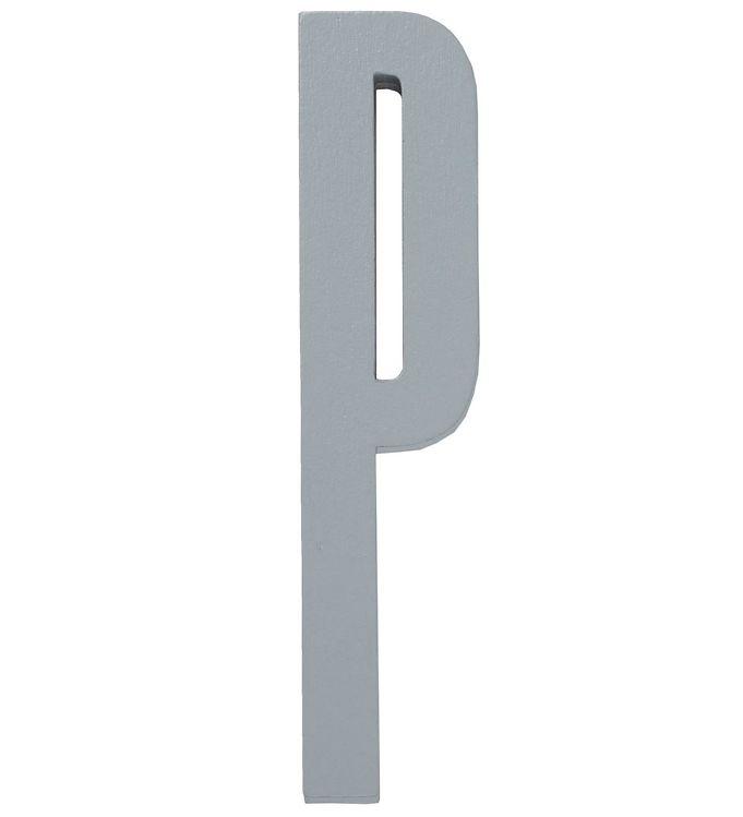 Image of   Design Letters Træbogstaver - P - Grå