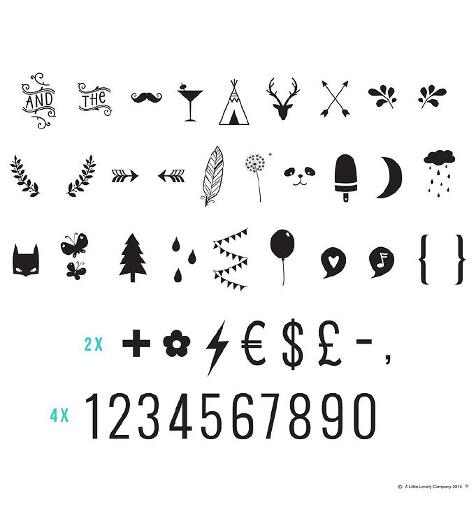 Image of A Little Lovely Company Lyskasse Symbolsæt - Numbers & Symbols (ØG628)