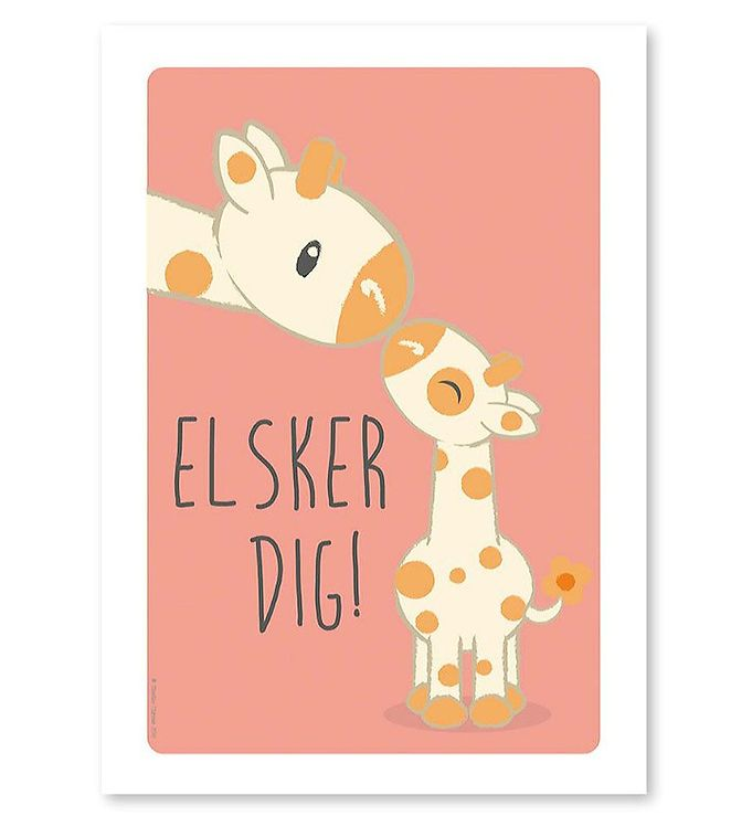 Image of Studio Circus Plakat - A4 - Giraffer m. Elsker Dig (ØG718)