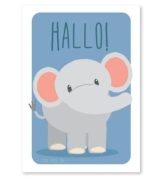 Image of Studio Circus Plakat - A4 - Elefant m. Hallo (ØG721)