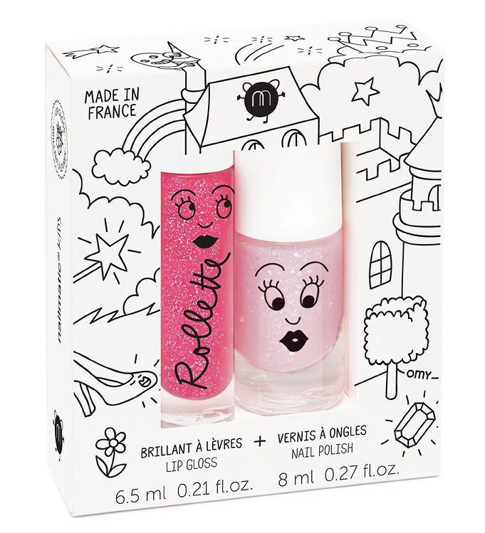 nailmatic – Nailmatic neglelak/lipgloss - lys pink glitter/hindbær på kids-world