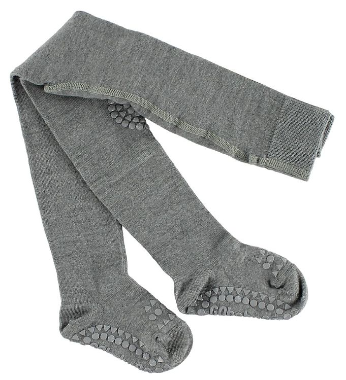 gobabygo kravlestrømpebukser - uld - gråmeleret fra gobabygo