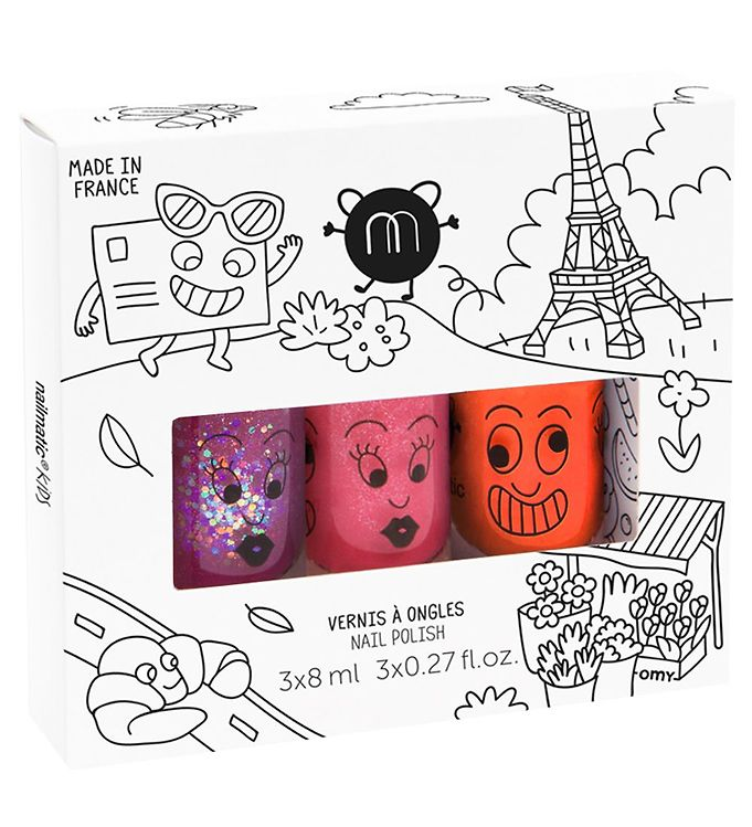 nailmatic Nailmatic neglelak - 3-pak - hindbær glimmer/orange/pink glimmer fra kids-world