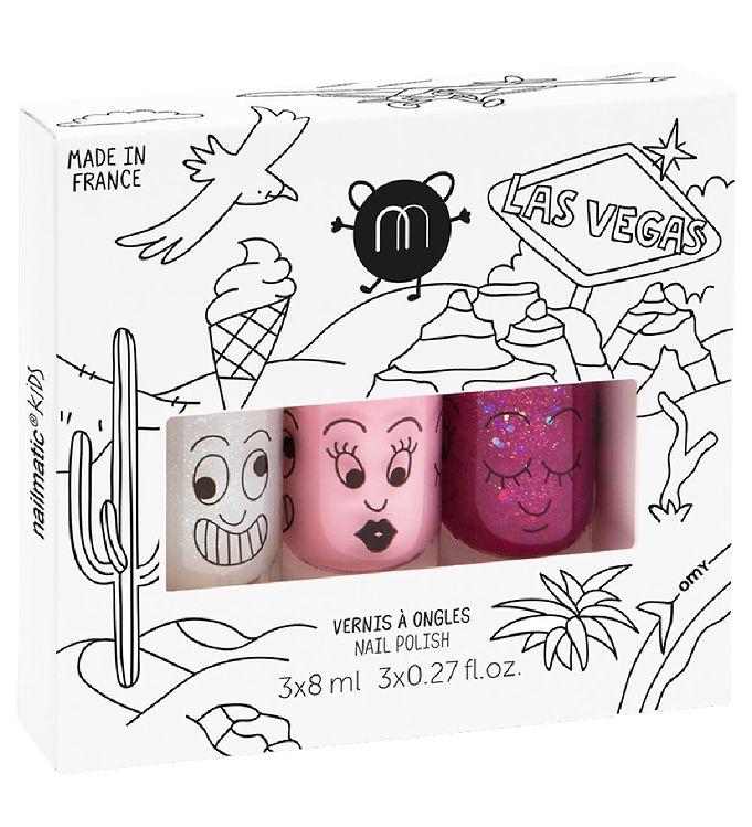 Nailmatic neglelak - 3-pak -rosa glimmer/lyserød/hindbær glimmer fra nailmatic på kids-world