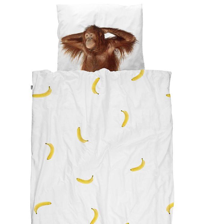 Image of   Snurk Sengetøj - Junior - Hvid m. Banan/Orangutang
