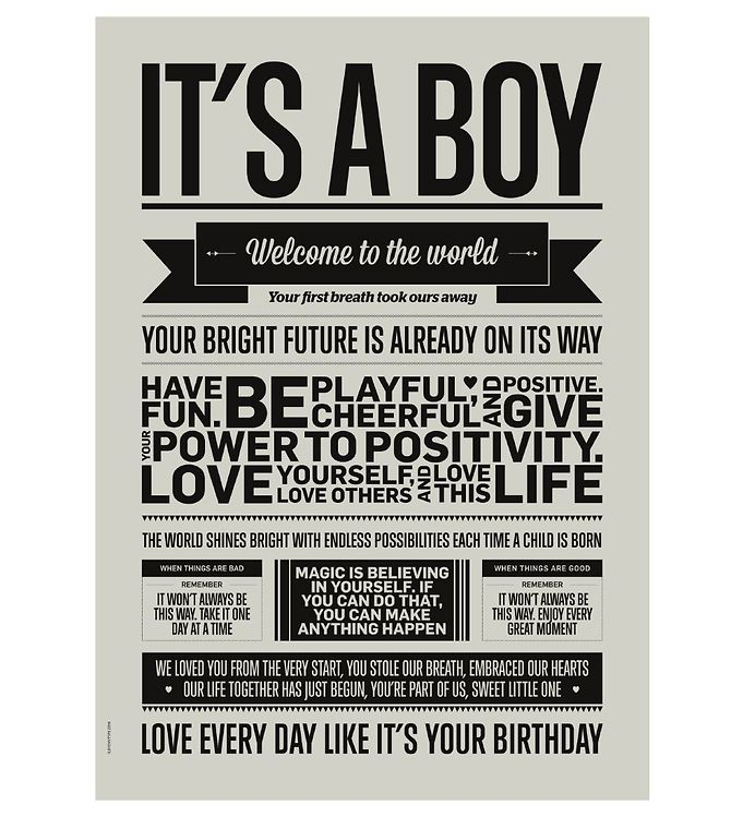 Image of I Love My Type Plakat - A3 - Love Typography - Its A Boy (ØN677)