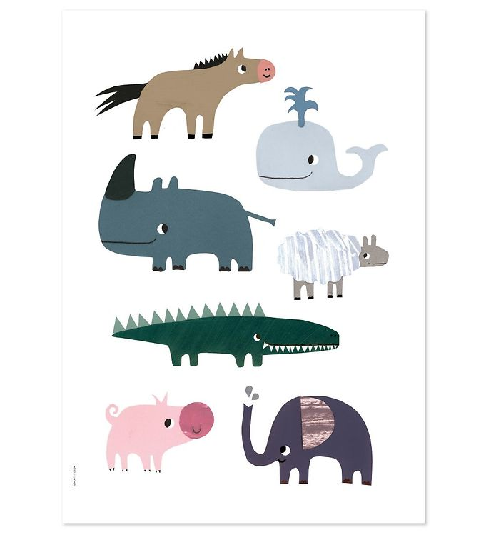 Billede af I Love My Type Plakat - A3 - Happy Animals - Smiling Friends