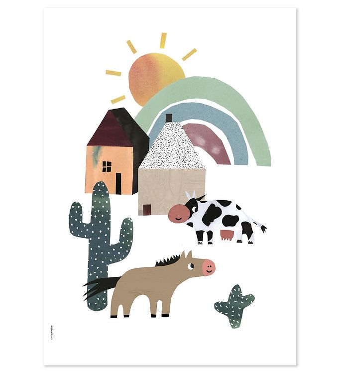 Billede af I Love My Type Plakat - A3 - Happy Animals - Western Happiness