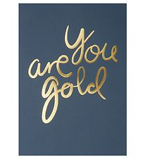 I Love My Type Plakat - A4 - You Are Gold - Navy m. Guld Tekst