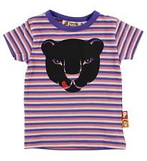 DYR T-shirt - Lilla/Rosastribet m. Panter