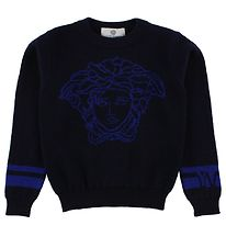 Young Versace Bluse - Uld - Navy m. Logo