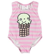 Stella McCartney Kids Badedragt - UV50+ - Rosastribet m. Isvaffe