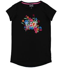 EA7 T-shirt - Sort m. Blomster