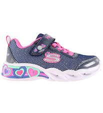 Skechers sko m. Lys - Girls Sweetheart Lights - Navy Multifarvet