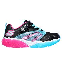 Skechers Sko m. Lys - Fusion Flash - Sort/Turkis/Pink m. Glimmer