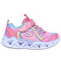 Skechers Sko m. Lys - Girls Heart Lights - Pink/Regnbue