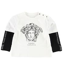 Young Versace Bluse - Creme/Sort m. Medusa