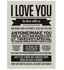 I Love My Type Plakat - A3 -  I Love You - Warm Grey