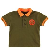 Young Versace Polo - Armygrøn/Orange m. Medusa