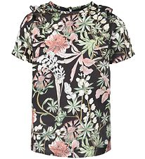 Petit by Sofie Schnoor T-shirt - Sort m. Blomster