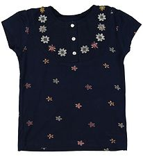 Small Rags T-shirt - Navy m. Blomster