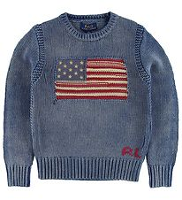 Polo Ralph Lauren Sweater - Blåmeleret m. Flag