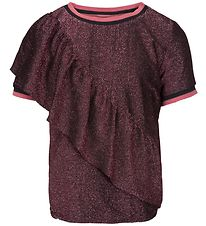 Petit by Sofie Schnoor T-shirt m. Flæse - Pink Sort Glimmer