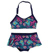 Color Kids Bikini - Tracy - UV40 - Navy/Pink m. Påfuglefjer