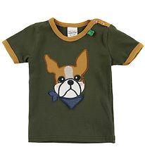 Freds World T-shirt - Armygrøn m. Bulldog