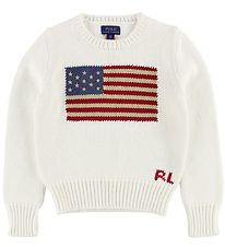 Polo Ralph Lauren Sweater - Hvid m. Flag