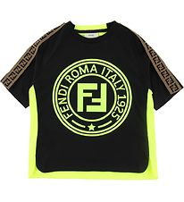 Fendi T-shirt - Sort/Neongul m. Logo