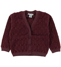 MP Cardigan - Uld/ØBomuld - Bordeaux m. Glimmer