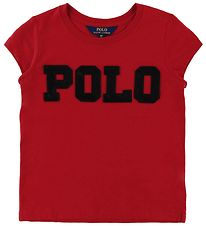 Polo Ralph Lauren T-shirt - Rød m. Sort/Pailletter