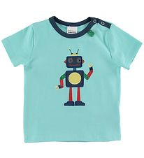 Freds World T-shirt - Hello Robot - Aqua