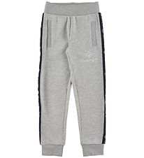 GANT Sweatpants - Lock Up Stripe - Gråmeleret