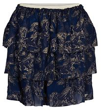 The New Nederdel - Tessa - Navy m. Guld Print