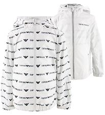 Emporio Armani Windbreaker - Vendbar - Hvid m. All Over Logo
