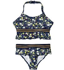 The New Bikini - UV50+ - Oliah - Black Iris m. Blomster/Guld