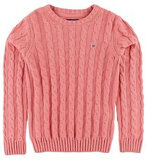 GANT Bluse - Strik - Cable - Strawberry Pink