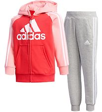 adidas Performance Træningssæt - Track - French Terry - Pink/Grå