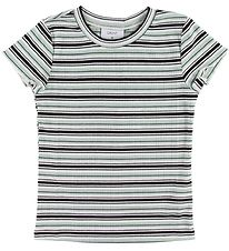 Grunt T-shirt - China - Rib - Sort/Hvid/Mintstribet