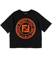 Fendi T-shirt - Sort m. Orange Logo