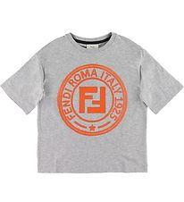 Fendi T-shirt - Gråmeleret m. Orange Logo