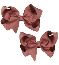 Bows By Stær Hårsløjfe - 2-pak - 10 cm - Dusty Berry