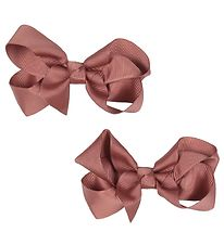 Bows By Stær Hårsløjfe - 2-pak - 8 cm - Dusty Berry