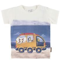 Hust and Claire T-shirt - Anker - Hvid m. Print