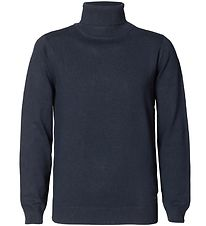 Petrol Industries Bluse m. Rullekrave - Strik - Deep Navy
