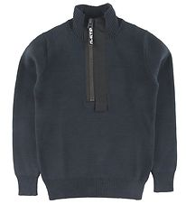 G-Star RAW Bluse - Strik - Half-Zip - Mazarine Blue
